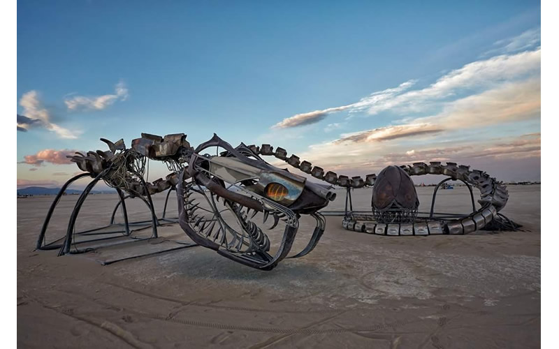 burning man iron sculpture