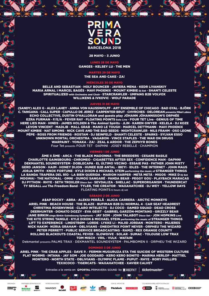 primavera sound line up poster