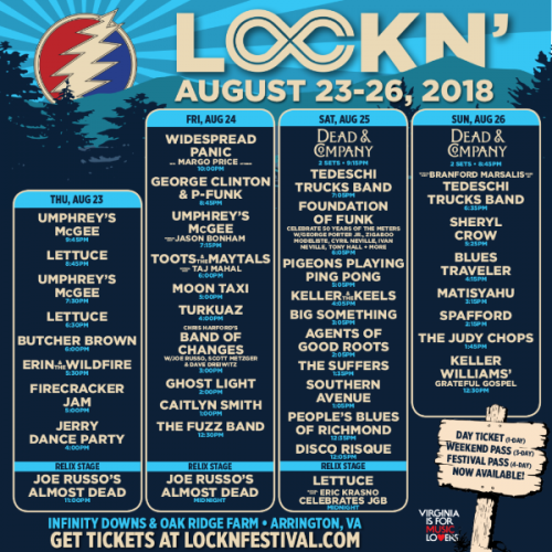 LOCKN SCHEDULE 2018
